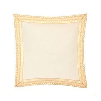Embroidered washed cotton cushion