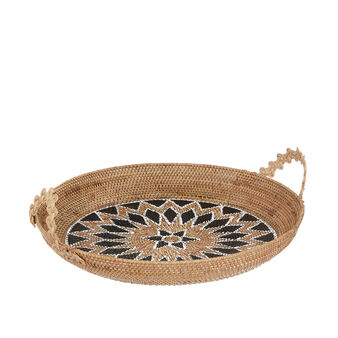 Hand-woven rattan tray