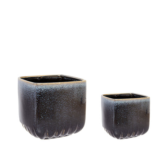 Ceramic cachepot with reactive glazes