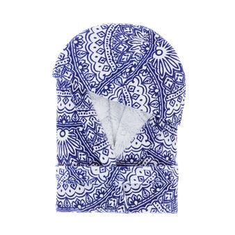 100% cotton velour bathrobe with fan pattern print