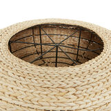 Decorative pouf with woven straw