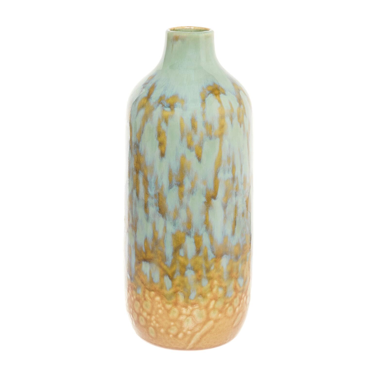 Ceramic bottle vase with reactive glazes