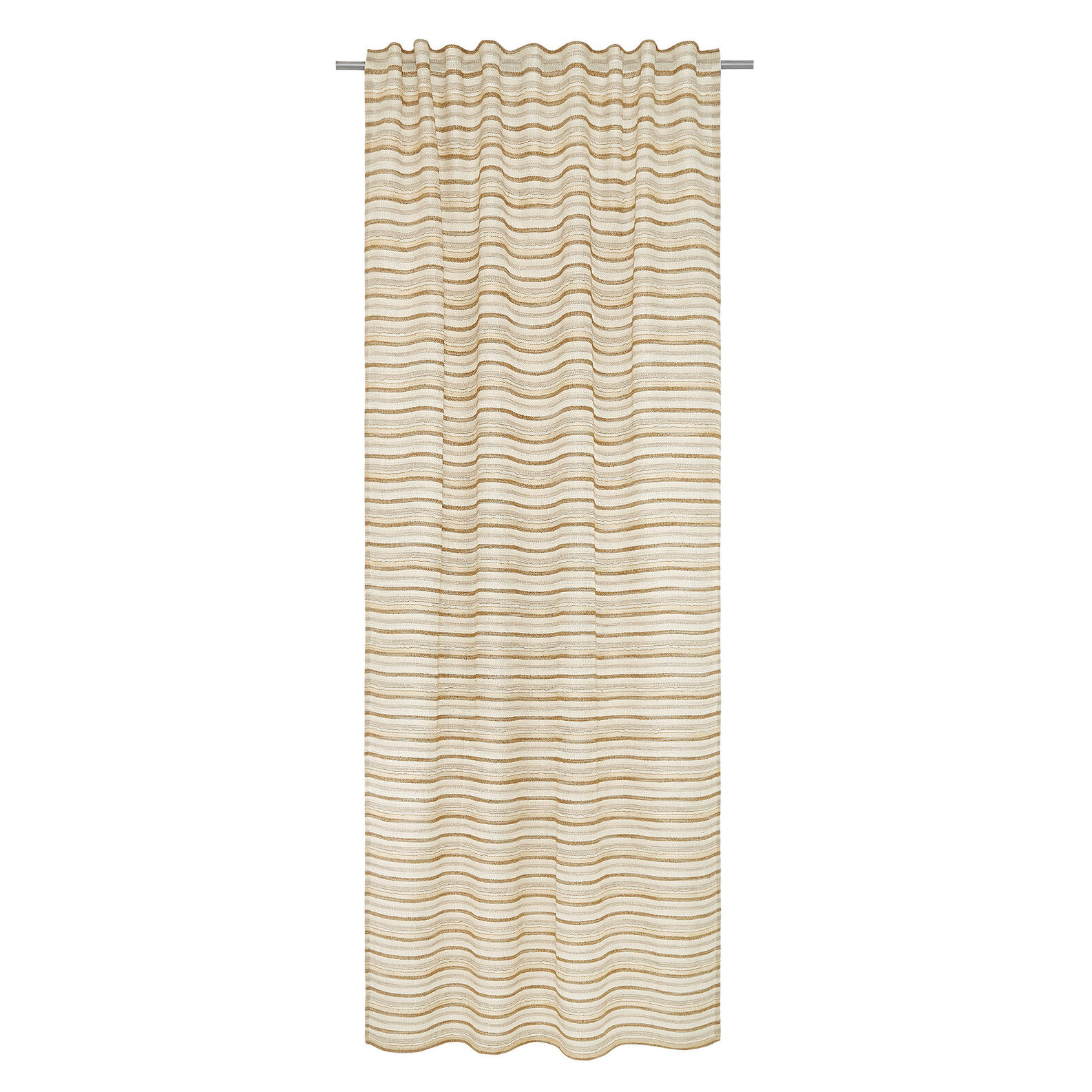 Gauze curtain with striped jacquard design and concealed loops