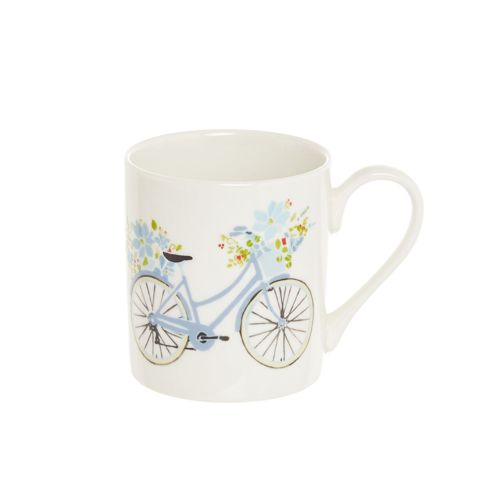 Mug in fine bone China with bikes motif