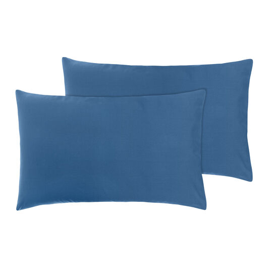 Set of 2 solid colour pillowcases in cotton percale