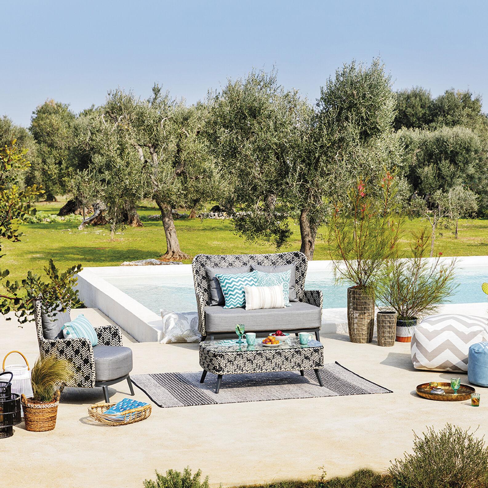 Marrakesh 2-seater sofa in polyrattan and aluminium