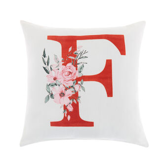 Cotton cushion cover with F print 45x45cm