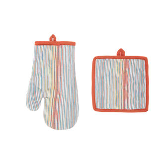Pot holder and oven mitt set in striped 100% cotton