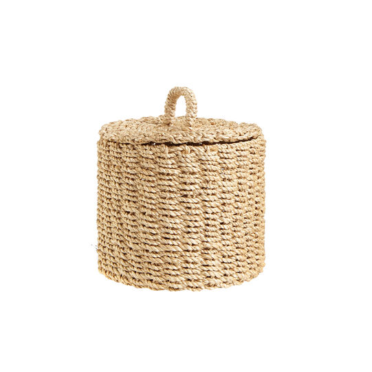 Abaca basket with lid