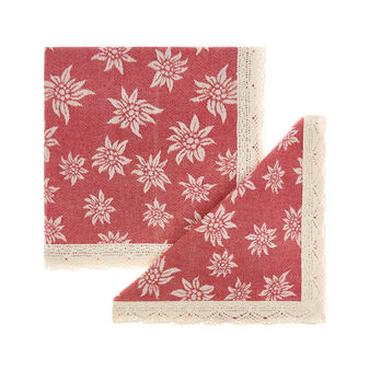 2-pack napkins in 100% cotton with edelweiss and lace border