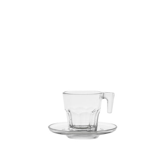 Glass coffee cup with fluted decoration.