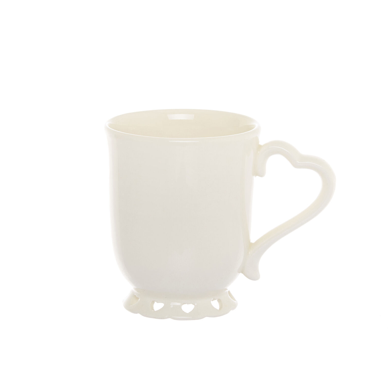 Ceramic mug with openwork heart design