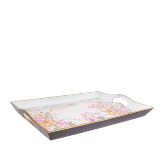 Plastic tray with floral motif