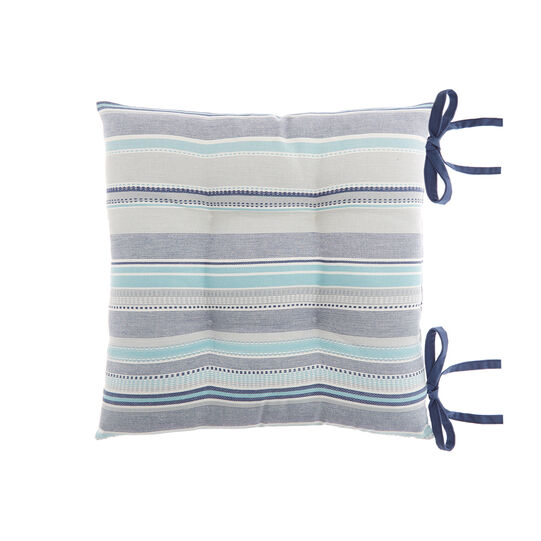 Yarn-dyed seat pad in 100% cotton with stripes