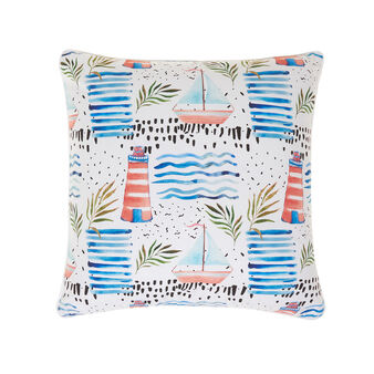 Cushion in 100% cotton with navy print
