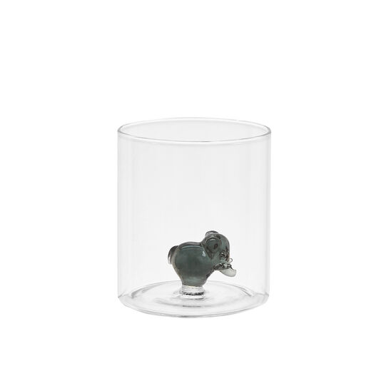 Glass tumbler with elephant detail