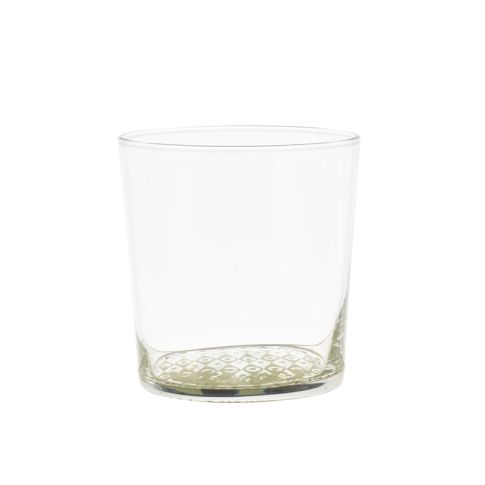 Glass water tumbler with geometric base
