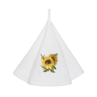 Cotton terry tea cloth with embroidery