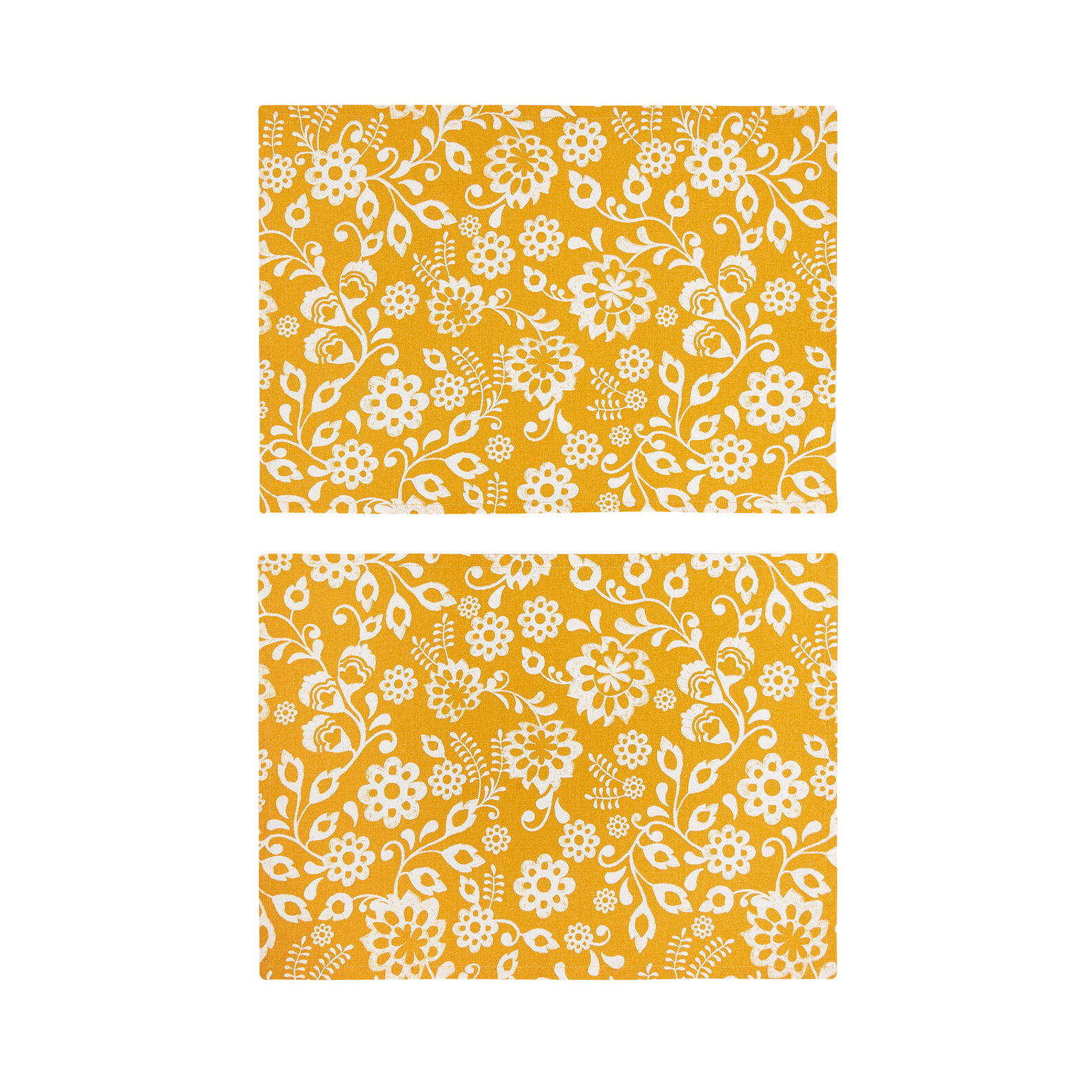 Set of 2 table mats in 100% cotton with sunflowers print