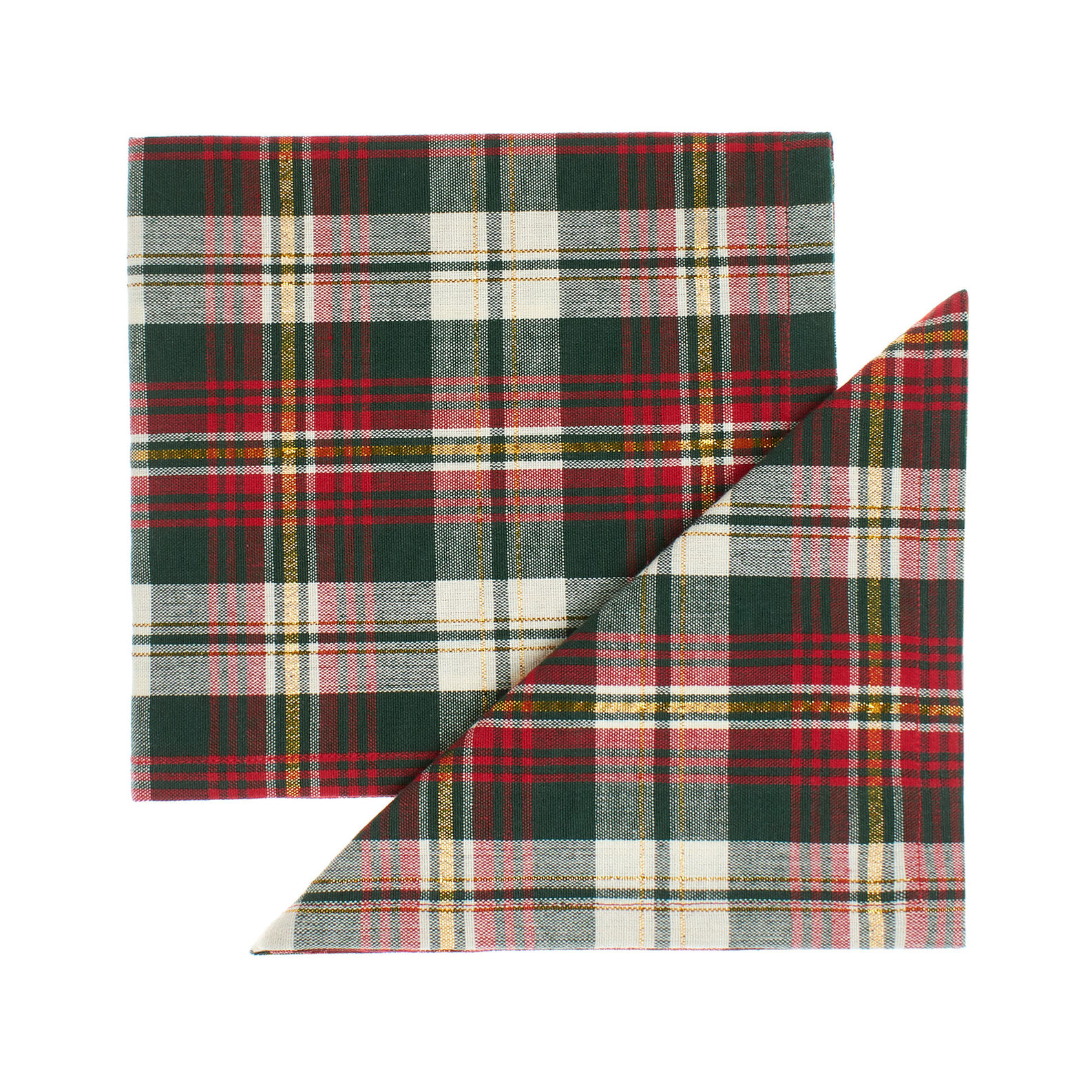 Set of 2 napkins in pure cotton tartan and lurex