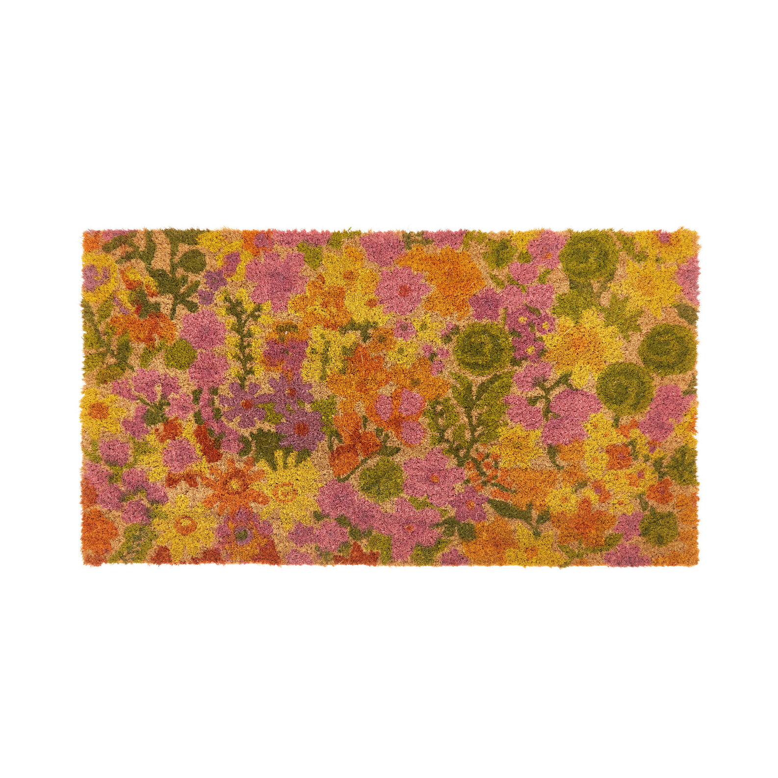Coconut doormat with flowers print