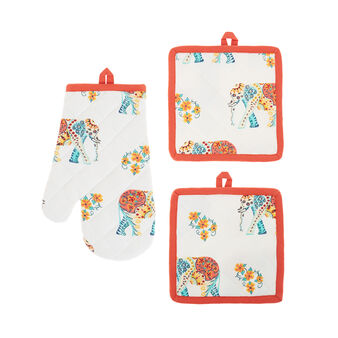2-pack pot holders in 100% cotton with elephants print
