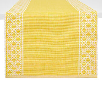 100% cotton table runner with geometric motif