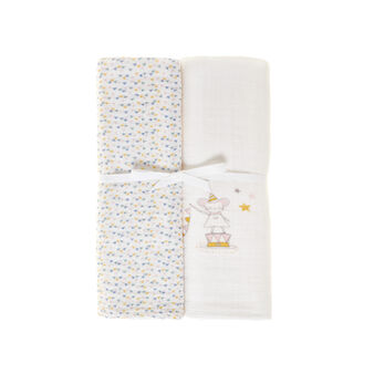 Set of 2 100% cotton gauze towels with girl mouse and small triangles