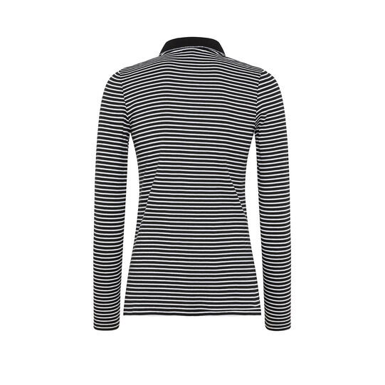 Striped patterned cotton polo t-shirt