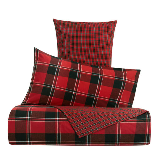 Cotton and flannel duvet cover with check motif