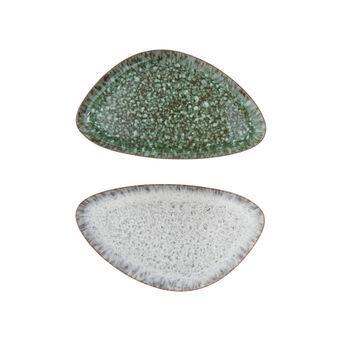 Piatto ovale porcellana effetto anticato