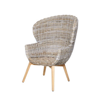 Bungalow armchair in hand-woven rattan