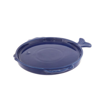 Solid colour small ceramic fish-shaped plate