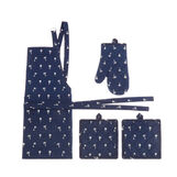 Set of two pot-holders glove and apron with palm print