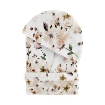 Accappatoio cotone velour stampa fiori