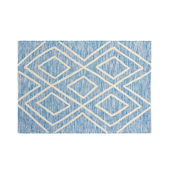 Tufted cotton geometric bath mat