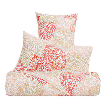 Cotton satin bed sheet set with coral pattern