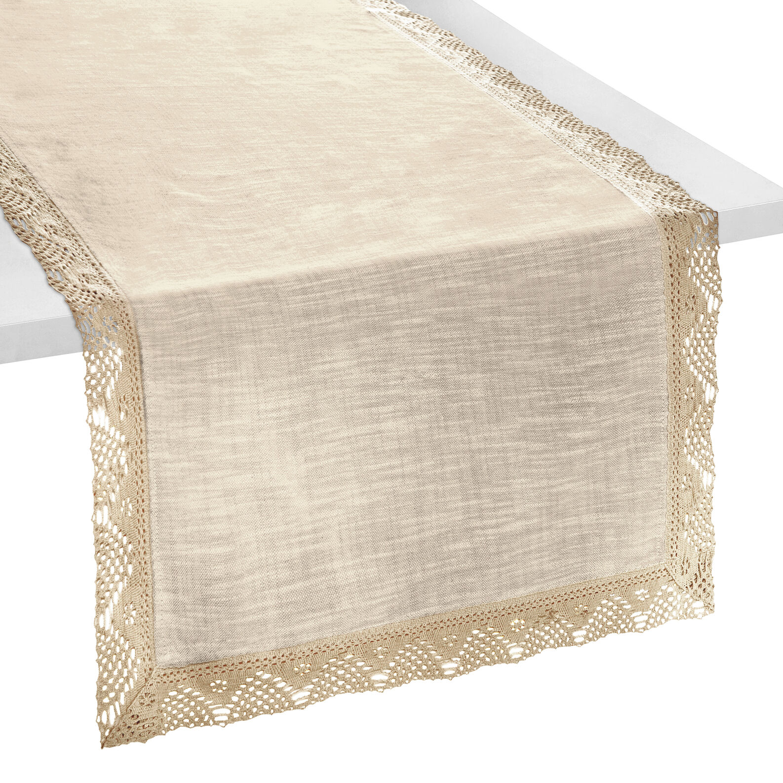 Mélange table runner with lace trim