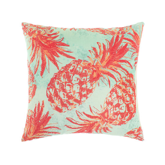 Cotton cushion with print and pineapple embroidery