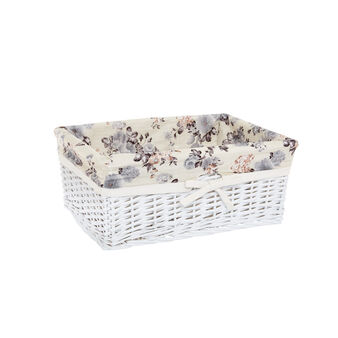 Basket in willow wood and cotton