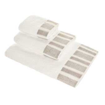 Towel in 100% cotton terry with linen flounce