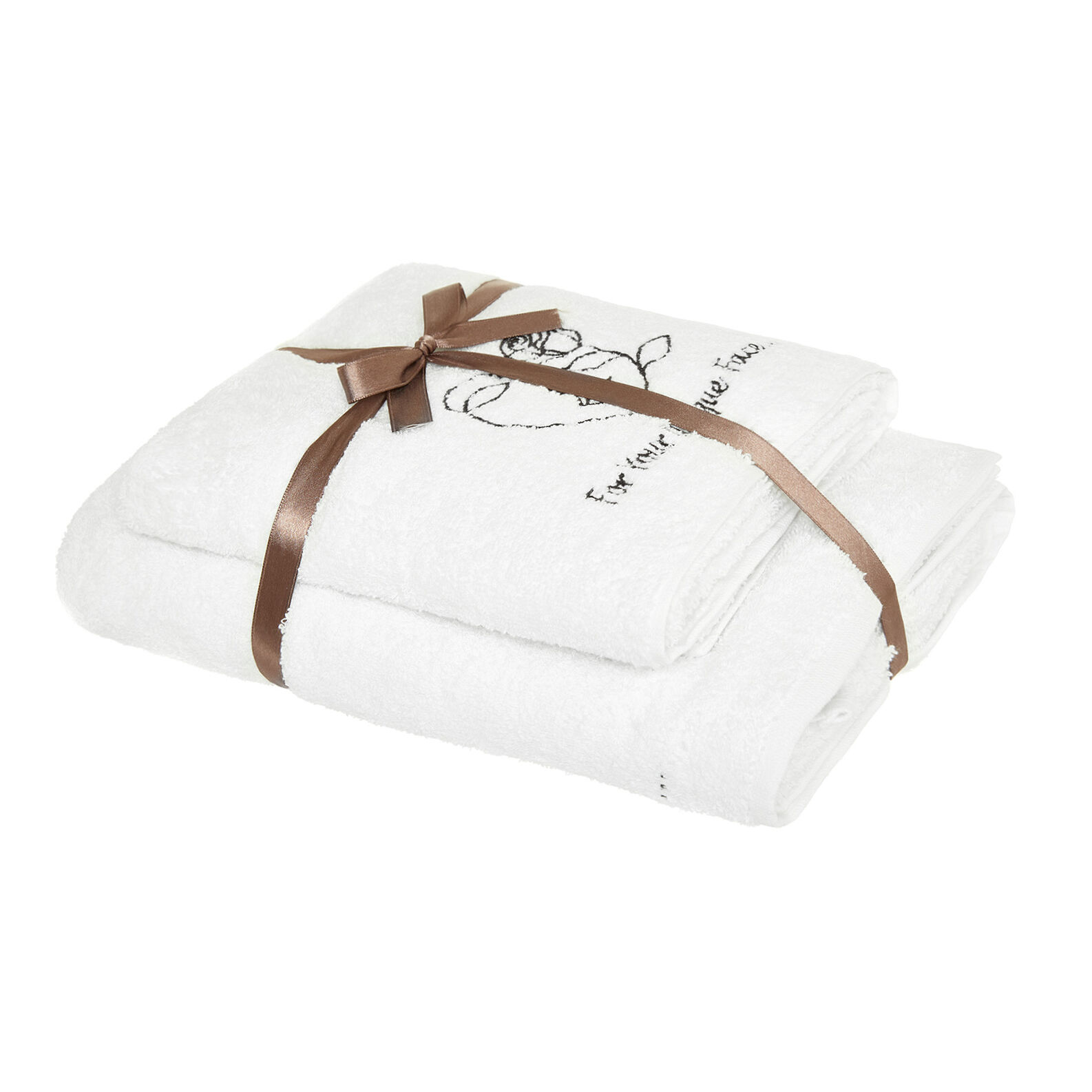 Set of 2 cotton terry towels with embroidery
