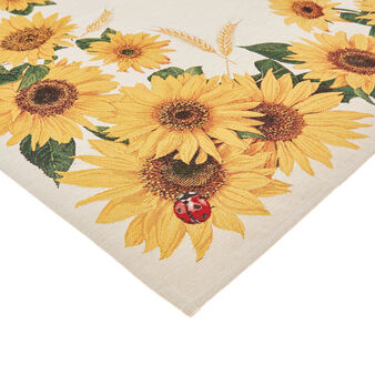 Gobelin jacquard centrepiece with sunflower motif
