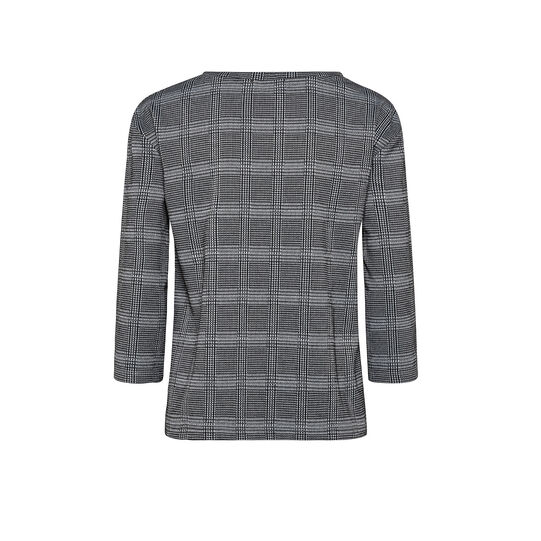 Lurex checked patterned sweater with trimmings along the sleeve