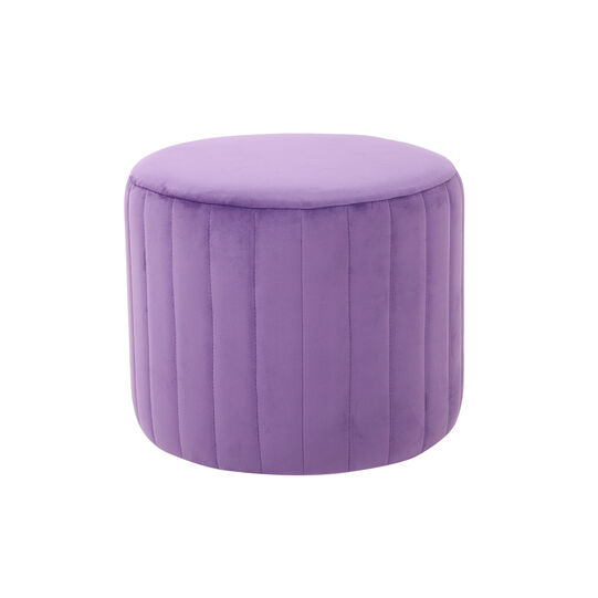 Round pouf in velvet and wood