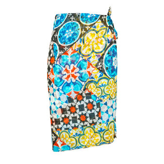 Koan silk blend sarong with mosaic print
