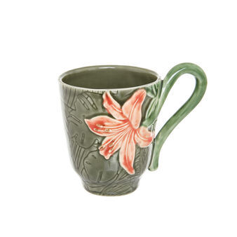 Ceramic mug with tropical flower decoration