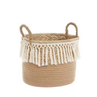 Hand-woven straw basket with tassels