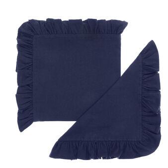 Set 2 tovaglioli puro cotone garment washed bordo volant