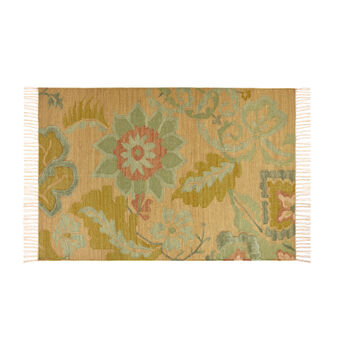 Wool and cotton rug with floral motif